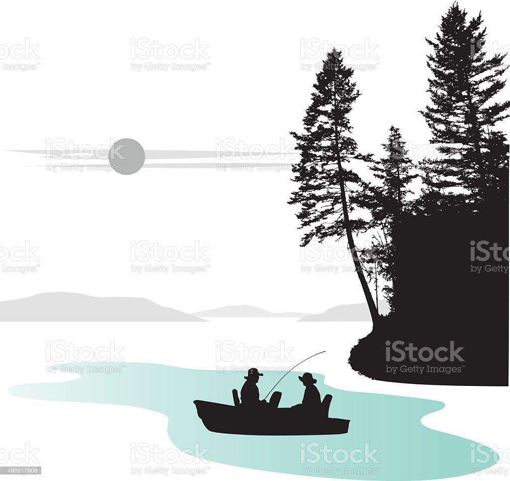 Water Edge Tree vector art illustration