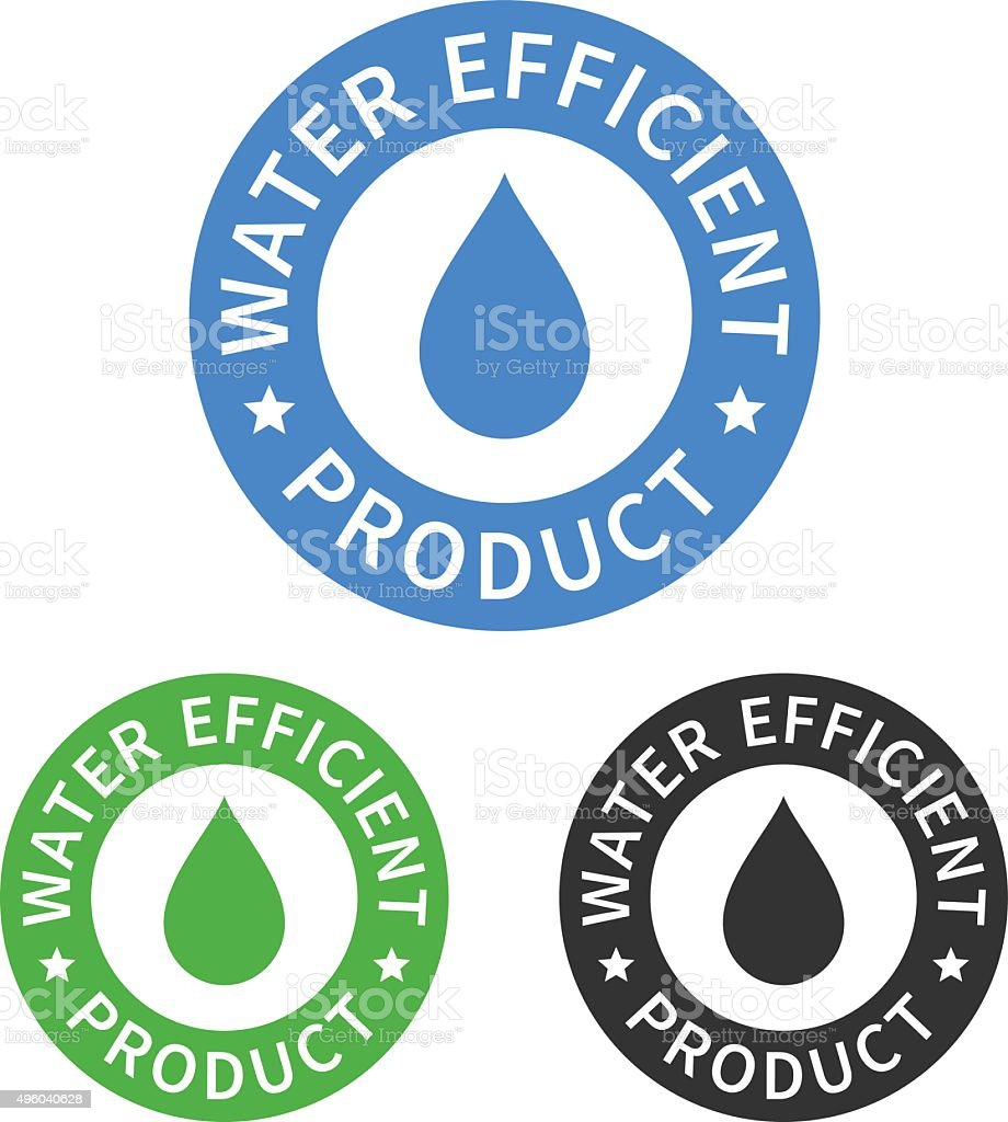 Water efficient product sticker or packaging seal flat icon vector art illustration