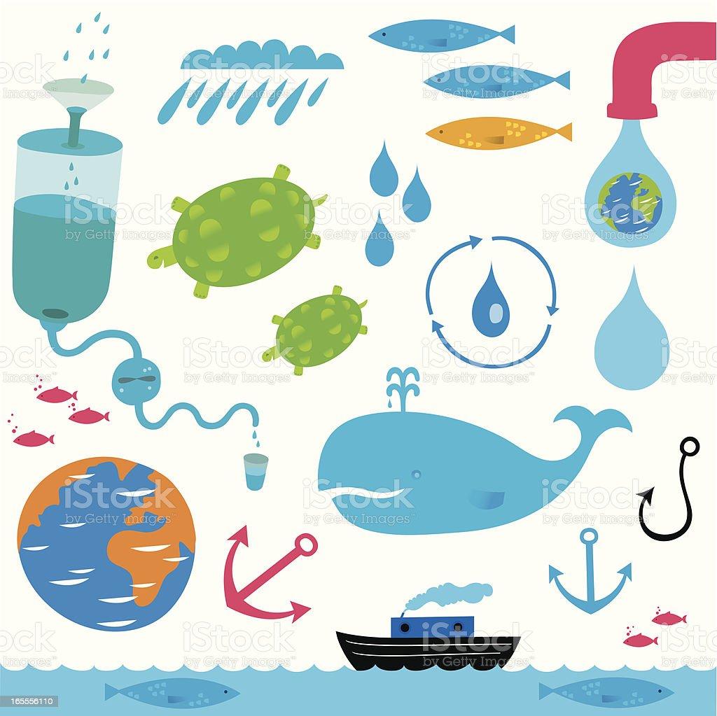 Water, everywhere vector art illustration