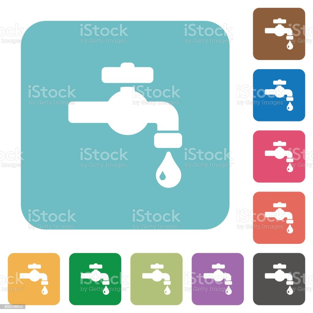 Water faucet with water drop rounded square flat icons vector art illustration