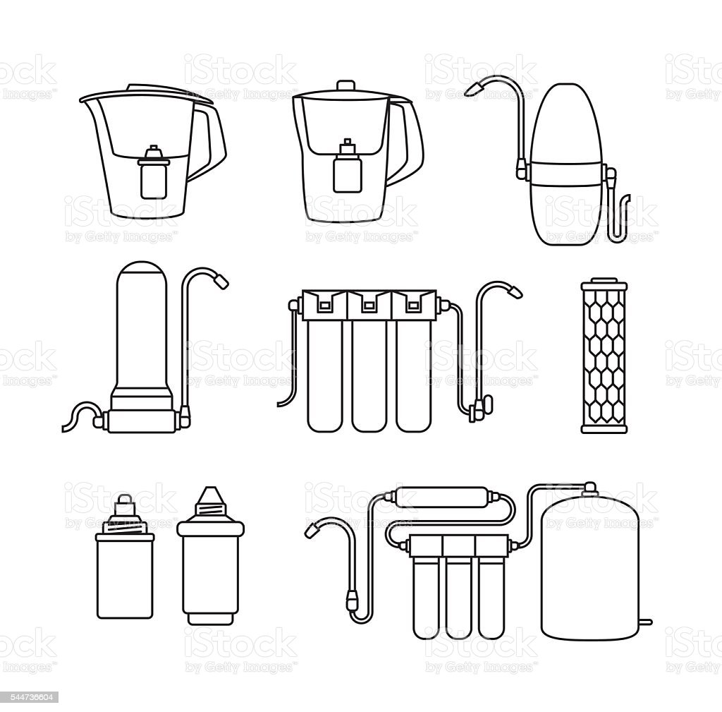 Water filter icons. Linear style. vector art illustration