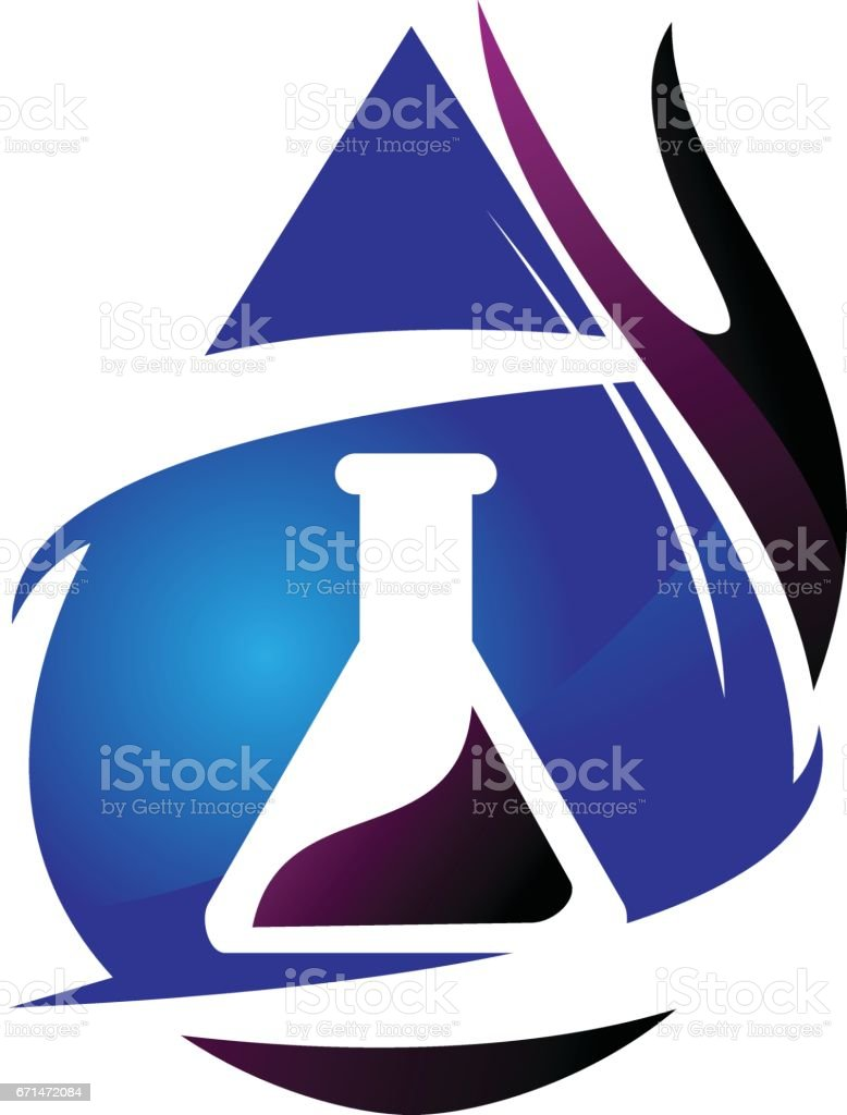 Water Fire Flame Gas Oil Laboratory vector art illustration