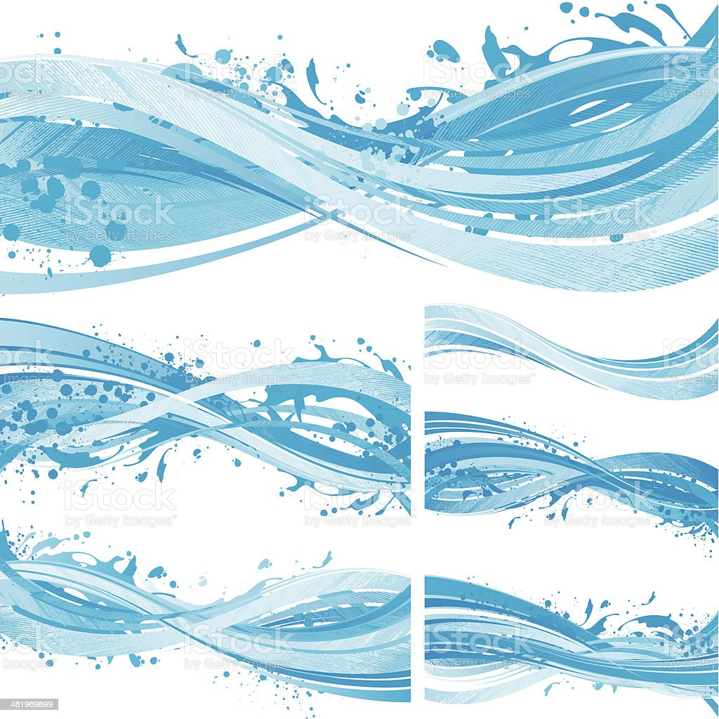Water flow backgrounds vector art illustration