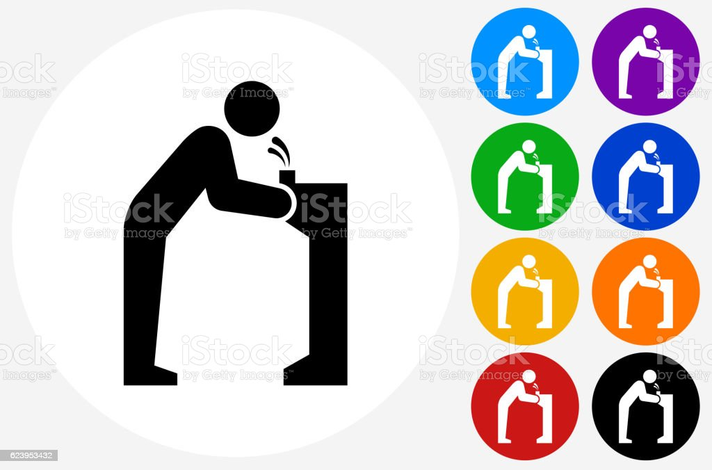 Water Fountain Icon on Flat Color Circle Buttons vector art illustration