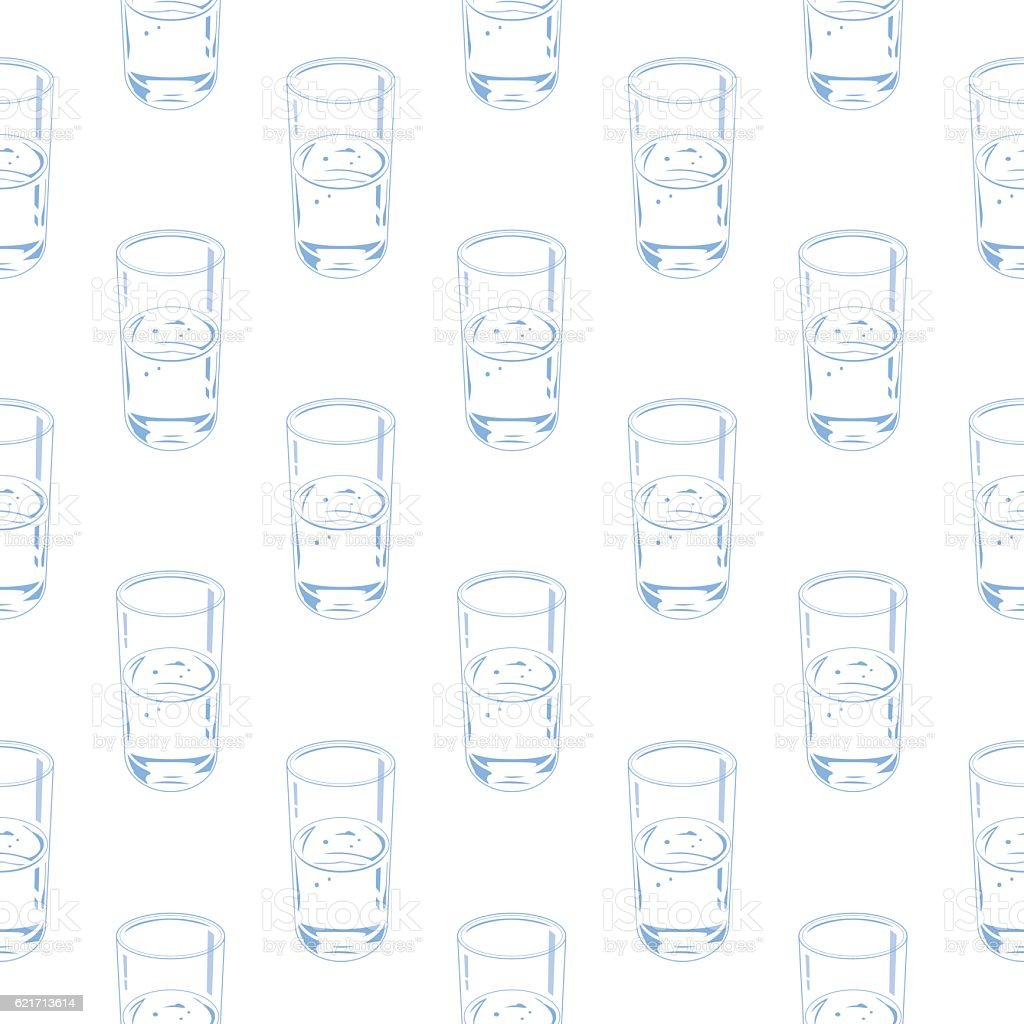 Water Glass Seamless Pattern vector art illustration