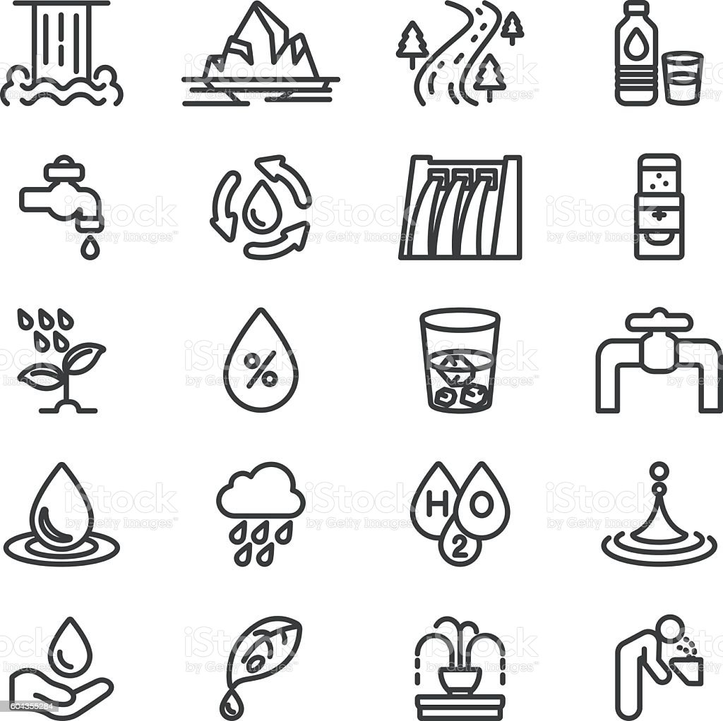Water H2O Line icons   EPS10 vector art illustration