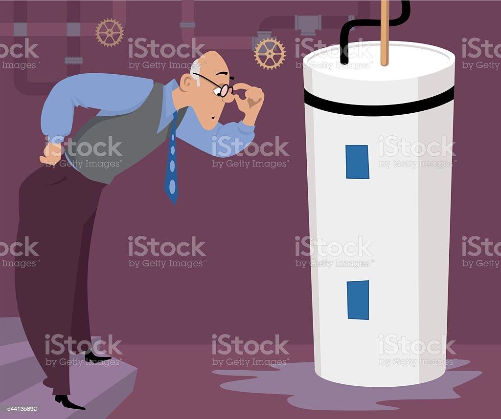 Water heater leak vector art illustration
