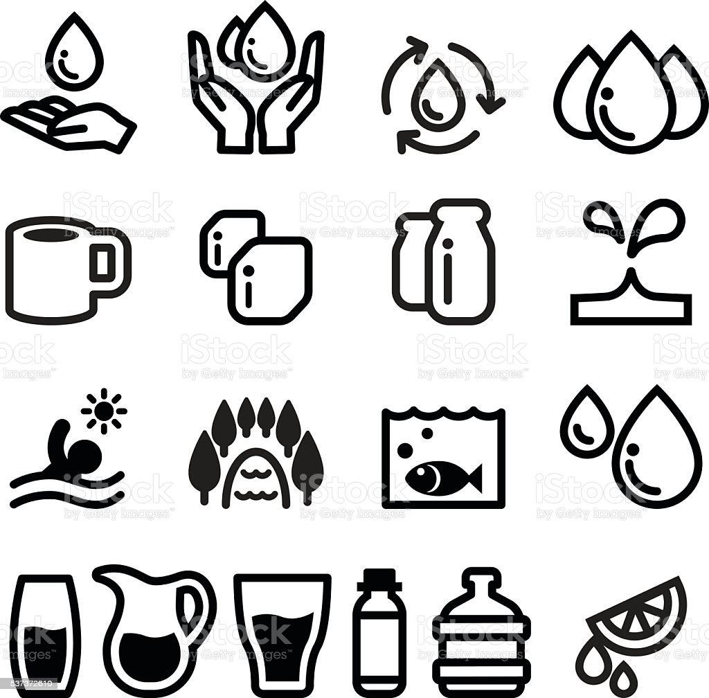 Water icon set vector art illustration