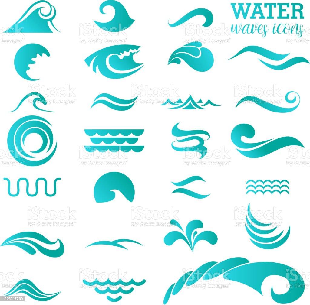 Water Icon Set. Vector Illustration vector art illustration