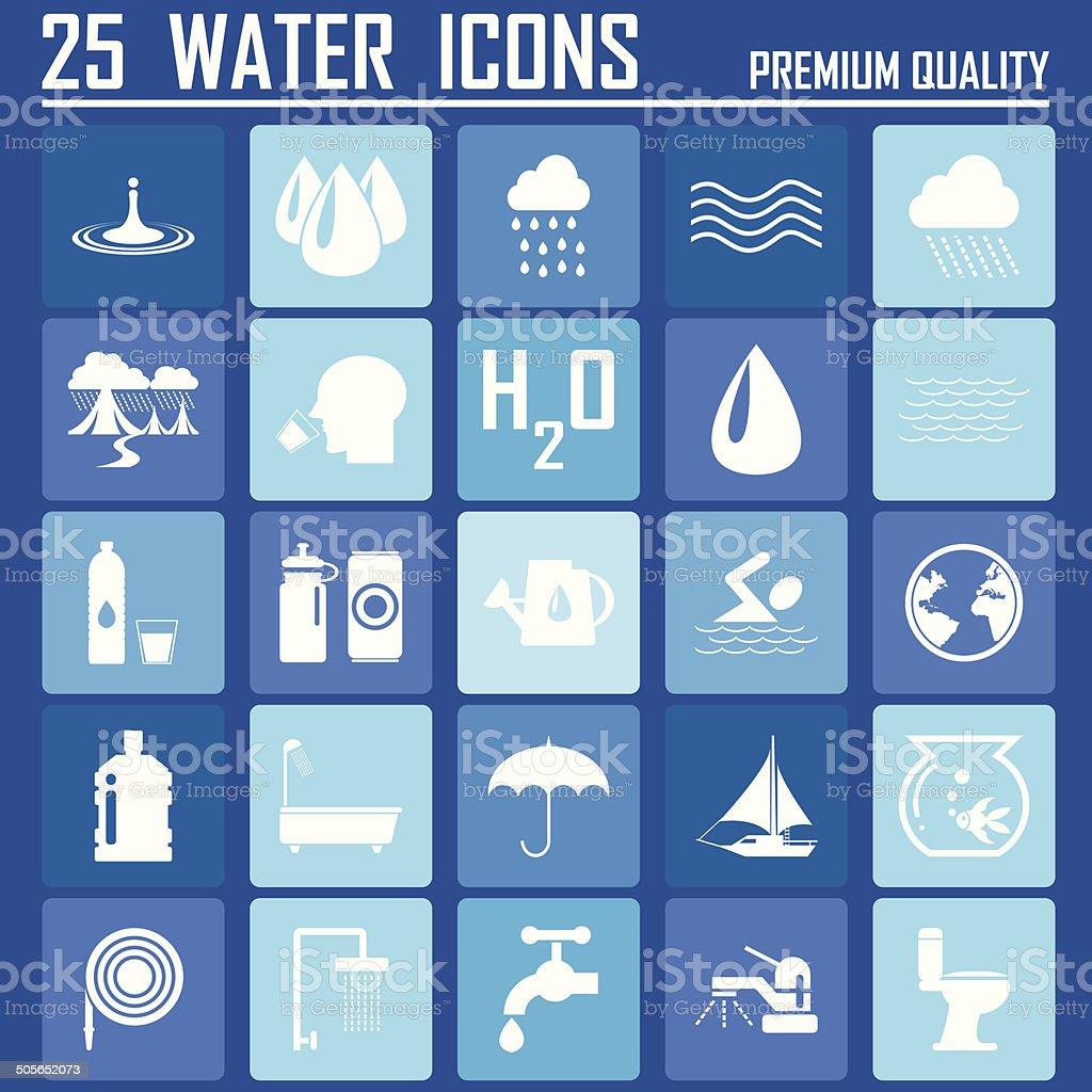 25 Water icon vector art illustration
