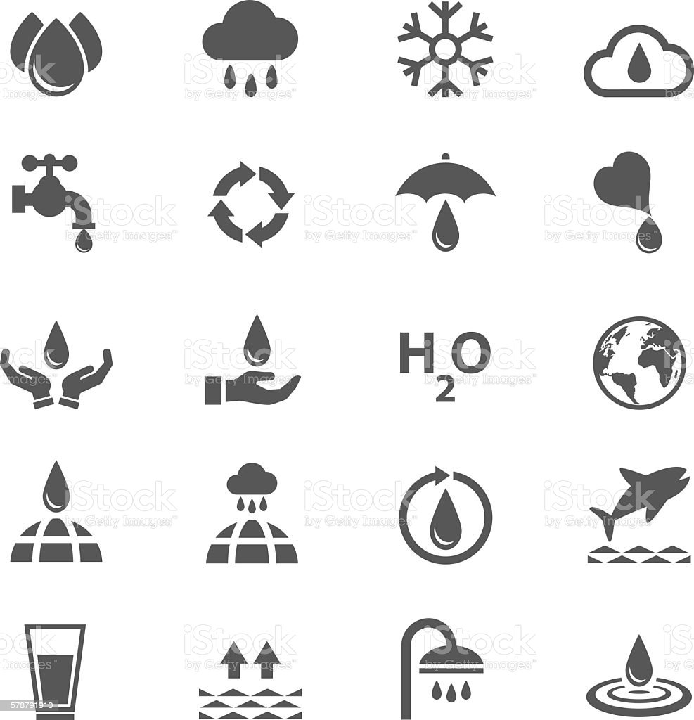 Water icons set vector art illustration