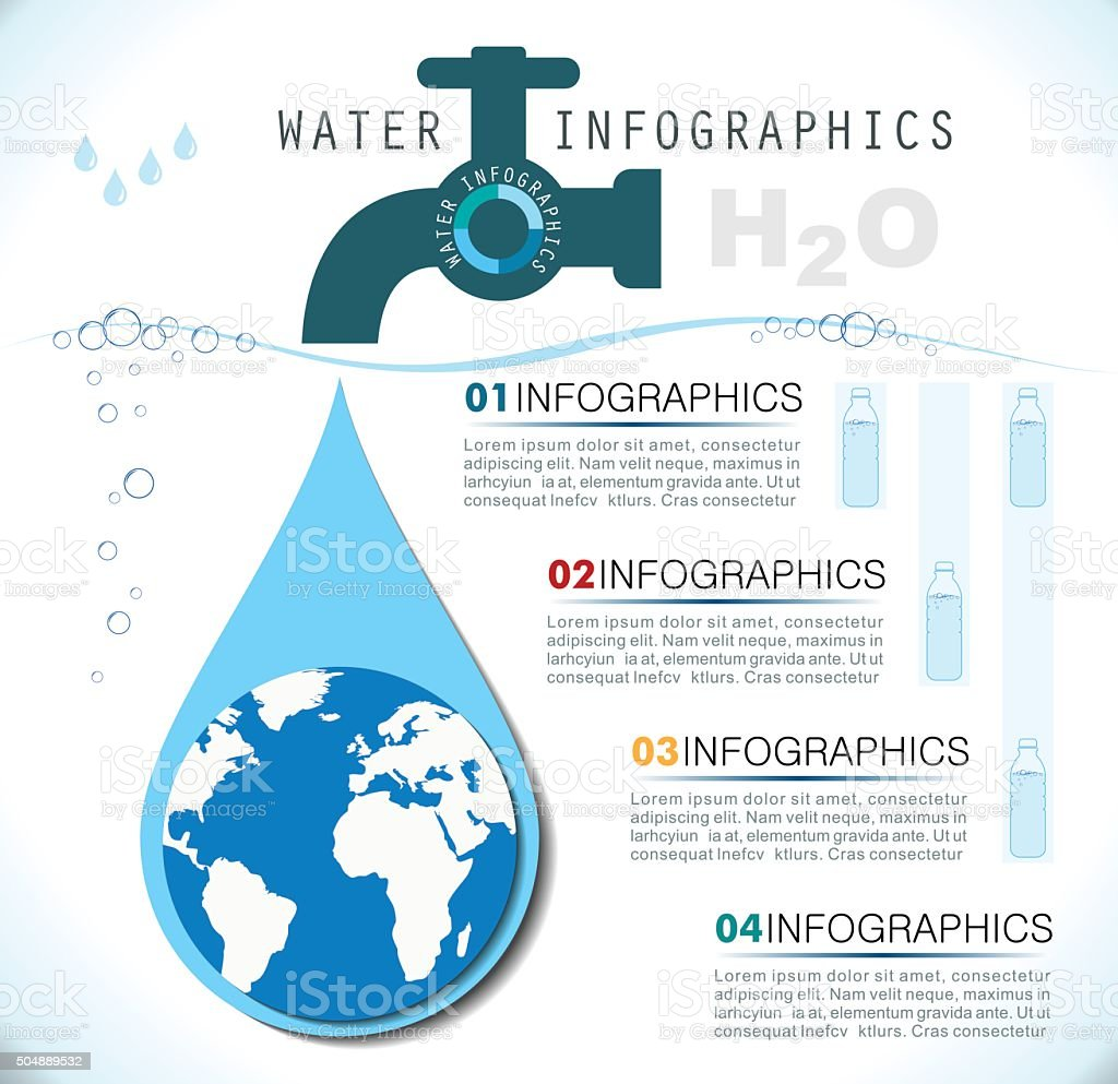 Water Infographics vector art illustration