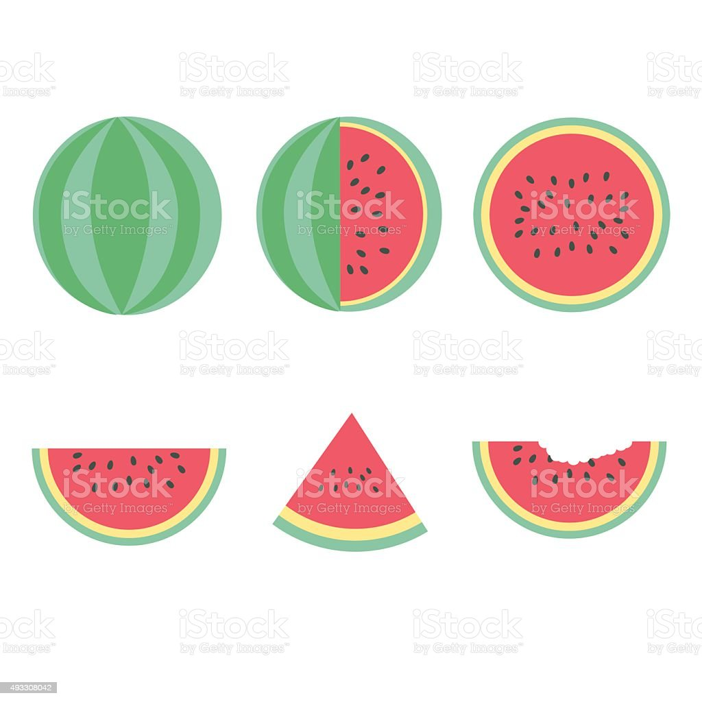 water melon set vector art illustration