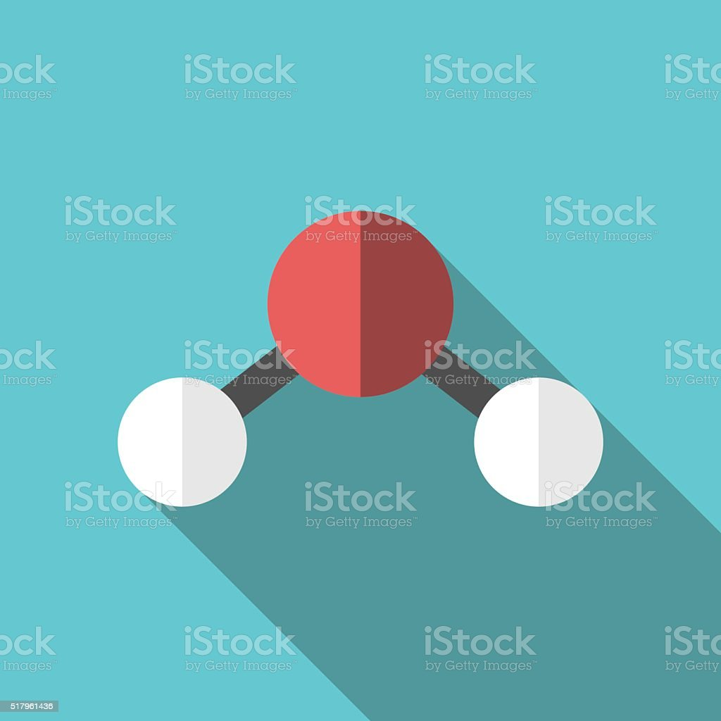 Water molecule, long shadow vector art illustration