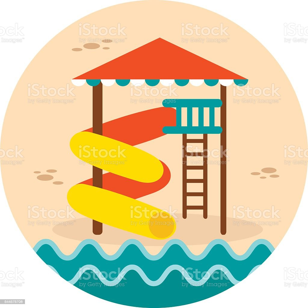 Water Park Summer Vacation. Slide Beach icon vector art illustration