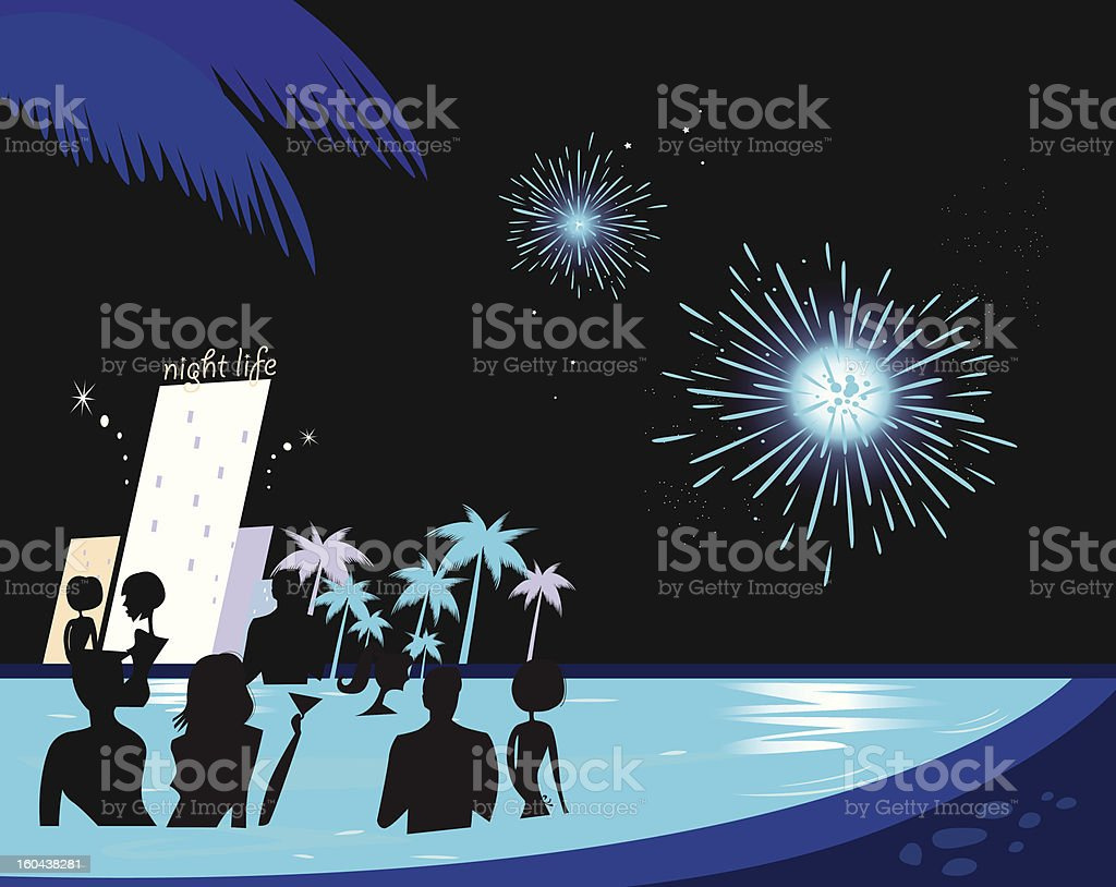 Water party night: People silhouette in pool & fireworks behind royalty-free stock vector art