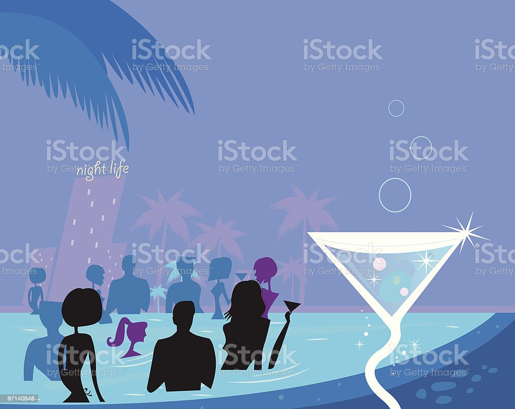 Water party night: People silhouette in pool & fresh Martini drink royalty-free stock vector art