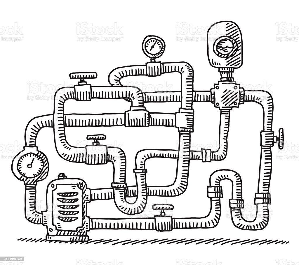 Water Pipe Closed Circuit Drawing vector art illustration