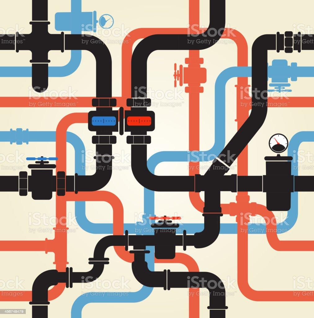 Water pipeline vector art illustration