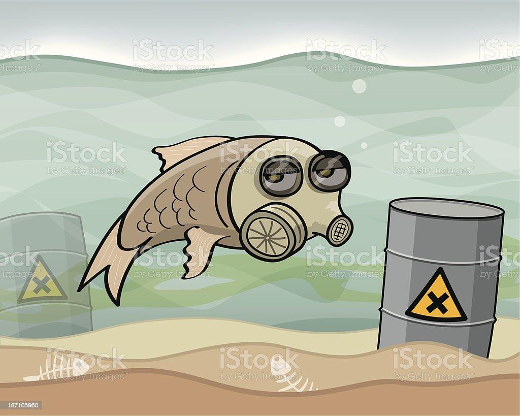 Water Pollution vector art illustration