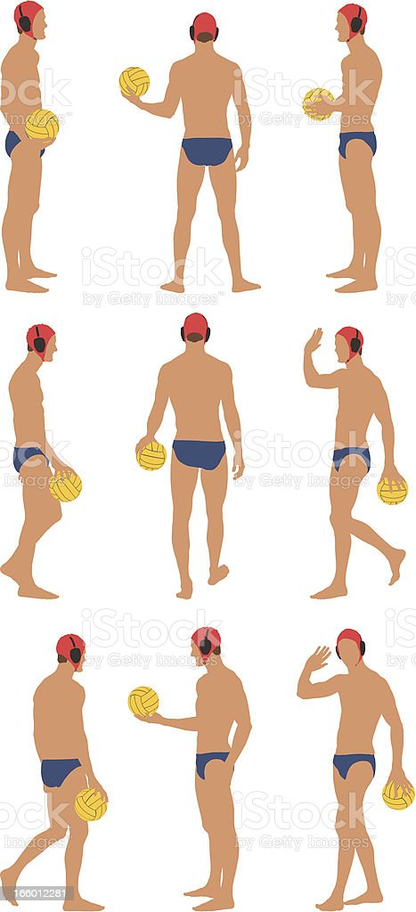 Water polo player holding a ball royalty-free stock vector art