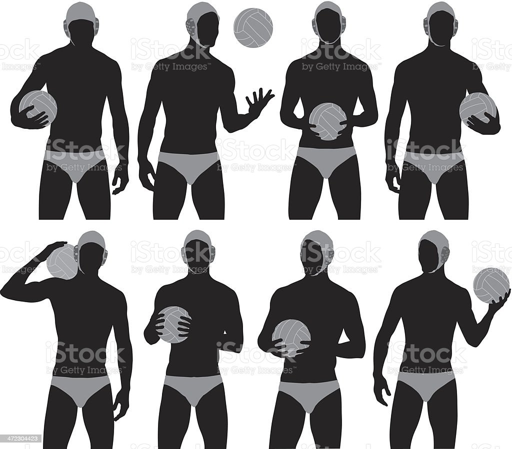 Water polo player vector art illustration