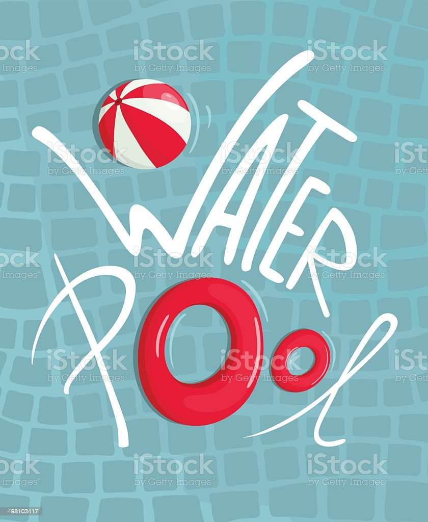 Water Pool with Inflatables Lettering Poster vector art illustration