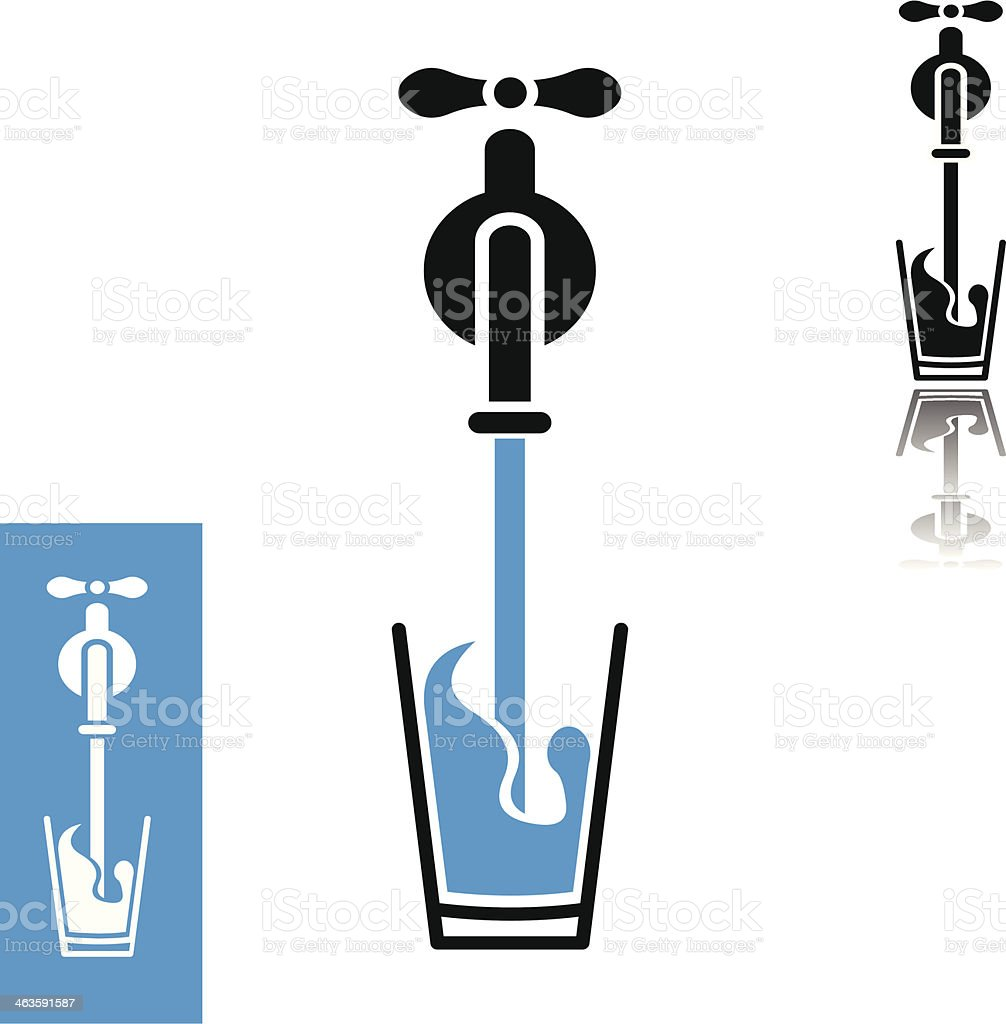Water pour from tap to glass vector art illustration