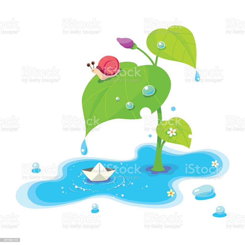 Water puddle,Snail,Paper ship vector art illustration