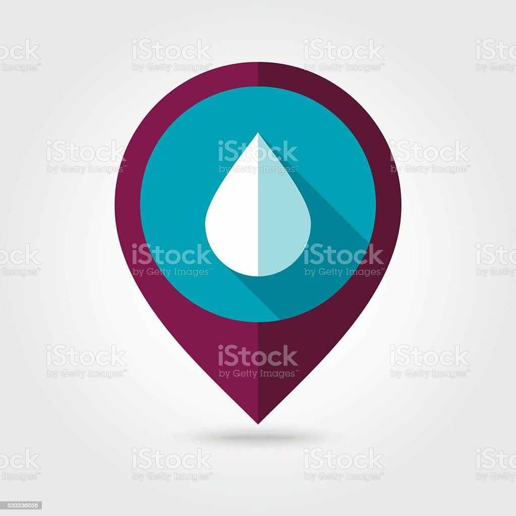 Water Rain Drop flat pin map icon. Weather vector art illustration