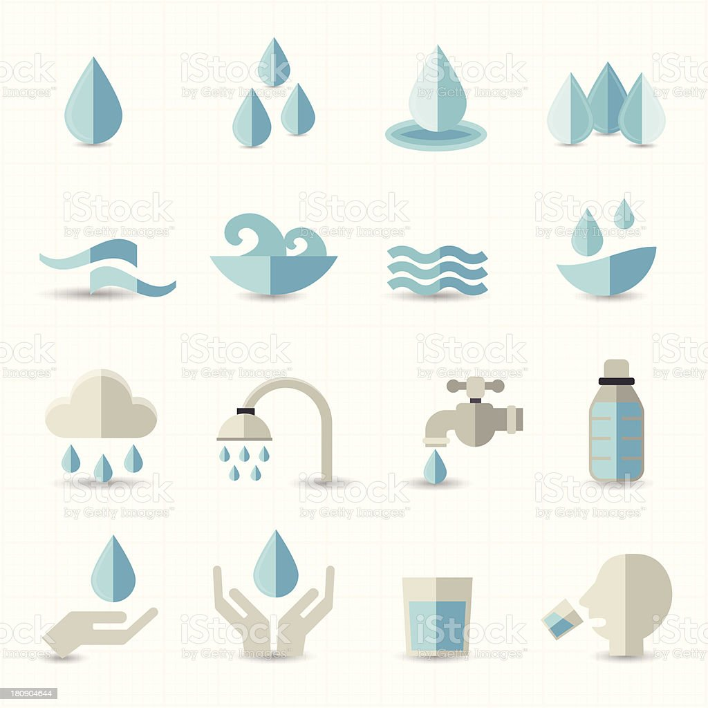 Water related icons vector art illustration