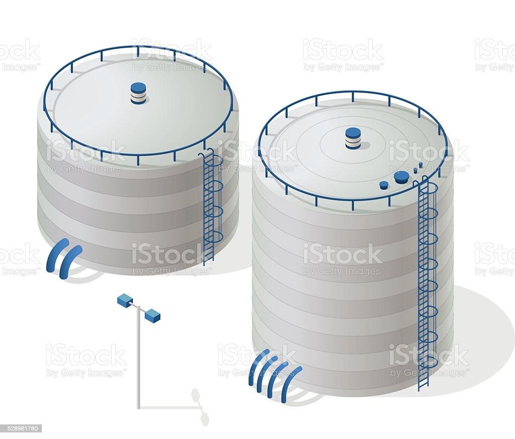 Water reservoir isometric building info graphic. Big water reservoir supply. vector art illustration