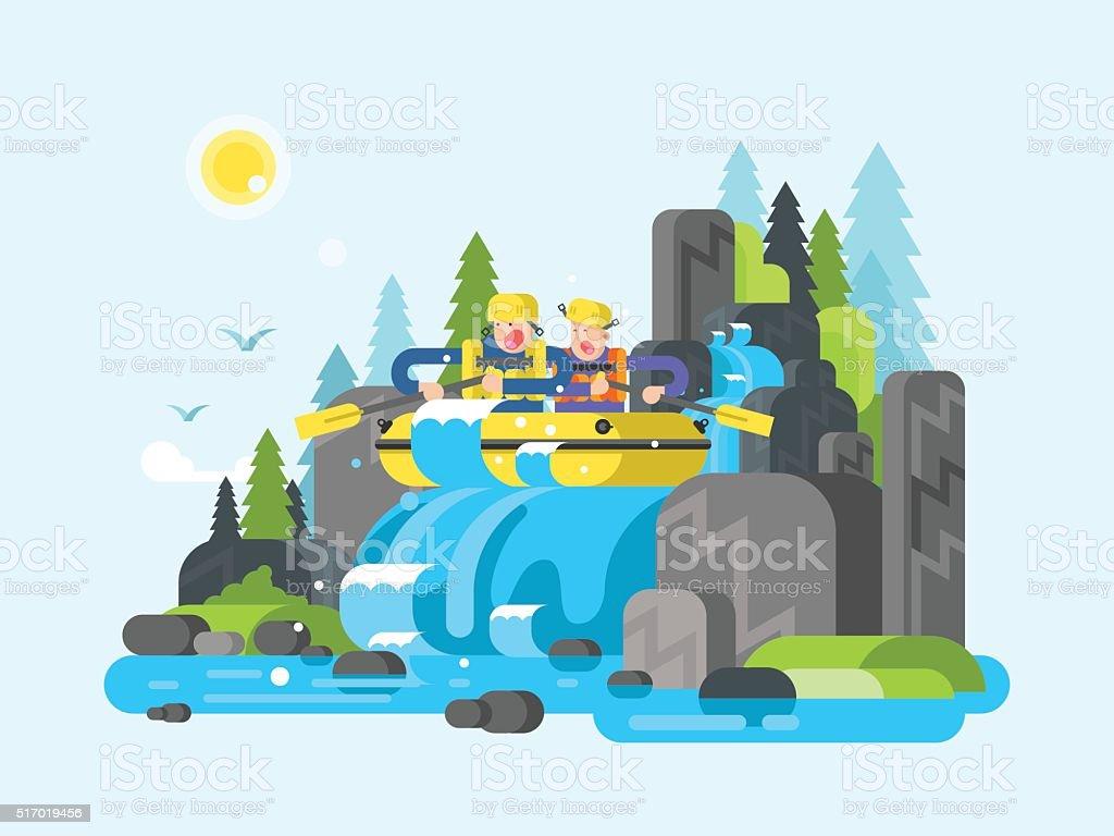 Water river slalom rafting vector art illustration