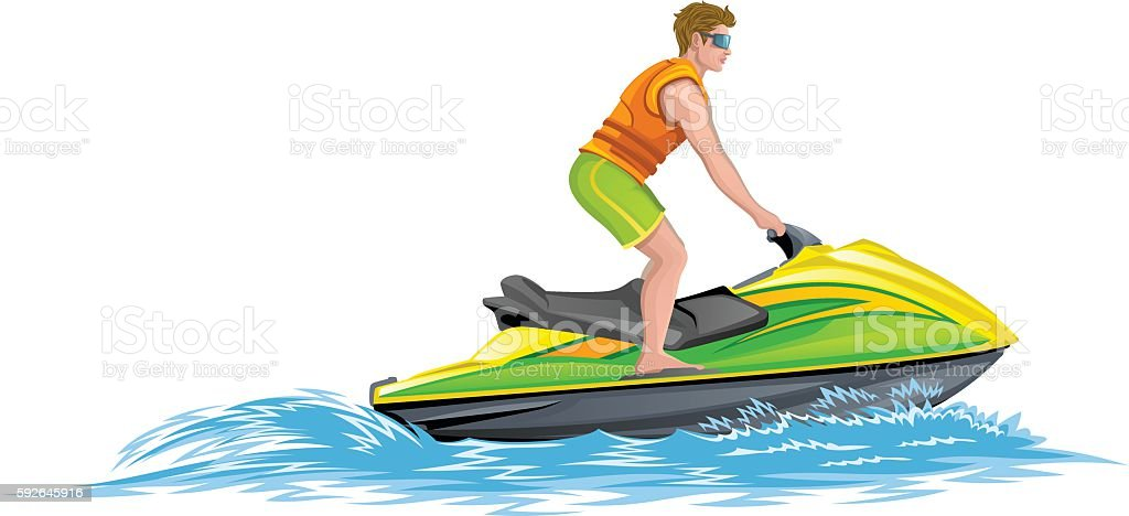 Water scooter vector art illustration