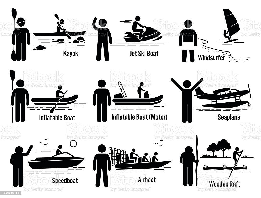 Water Sea Recreational Vehicles and People Set Illustrations vector art illustration