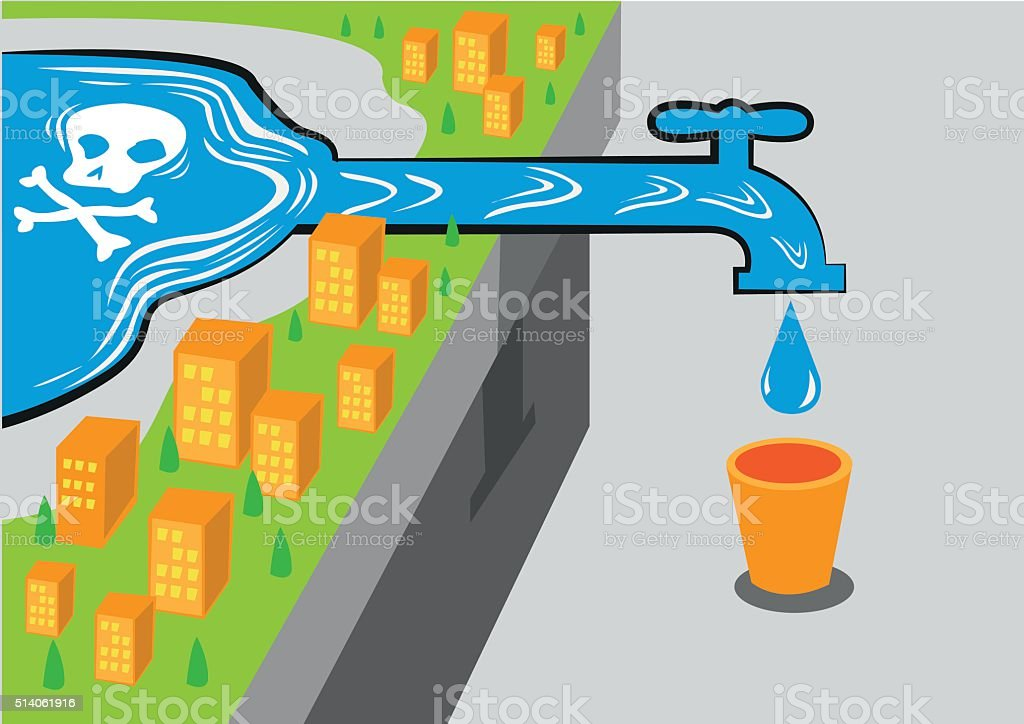 Water source has poison like lead. Editable Clip art. vector art illustration