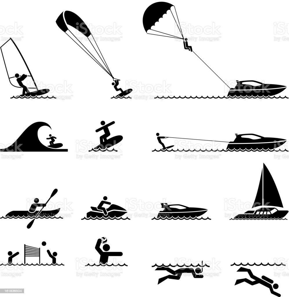 water sports and Ocean Vacation black & white icon set royalty-free stock vector art