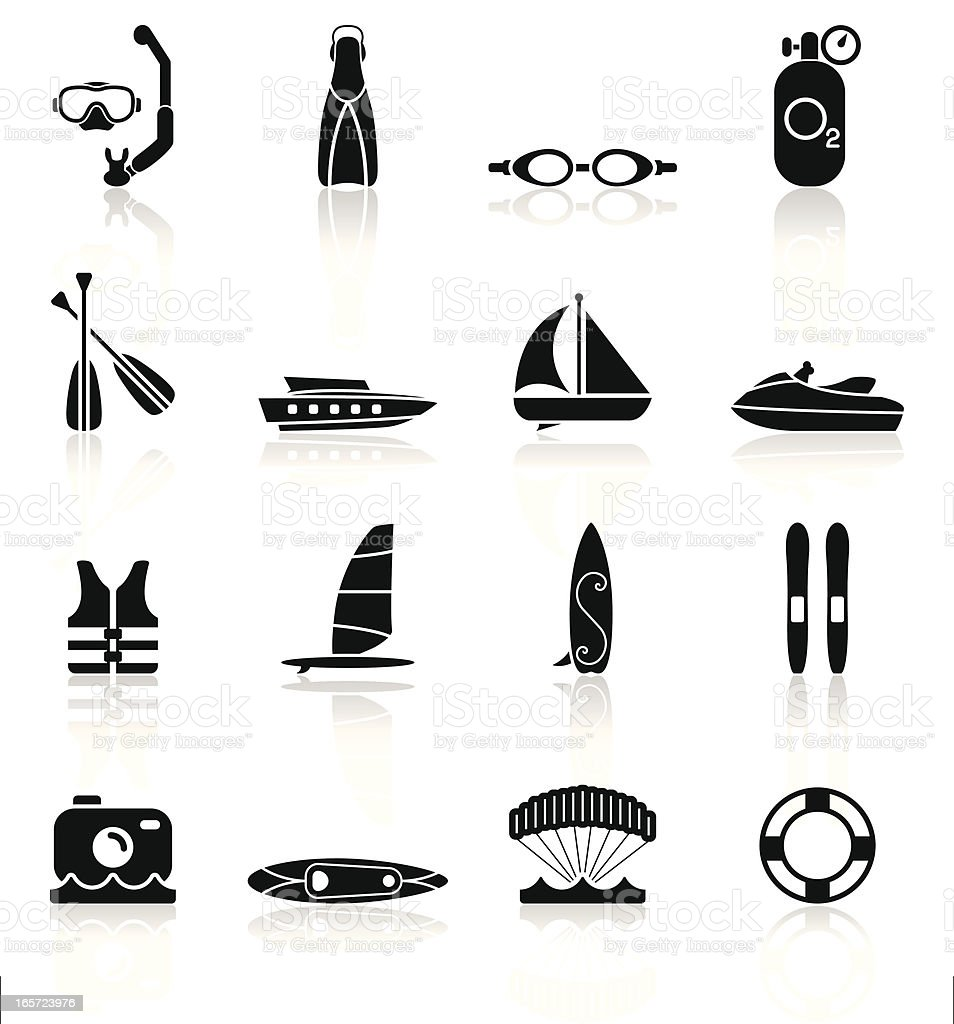 Water Sports Equipment - Simple Collection vector art illustration