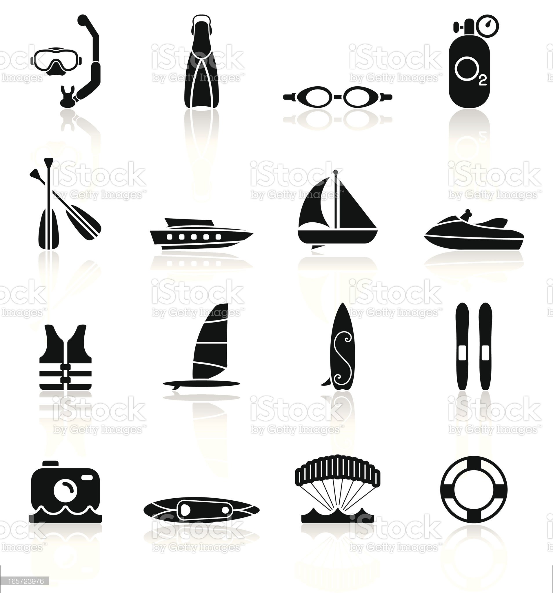 Water Sports Equipment - Simple Collection royalty-free stock vector art