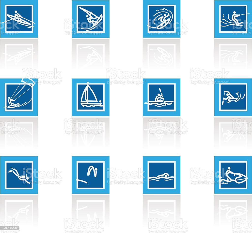 Water sports Icon set vector art illustration