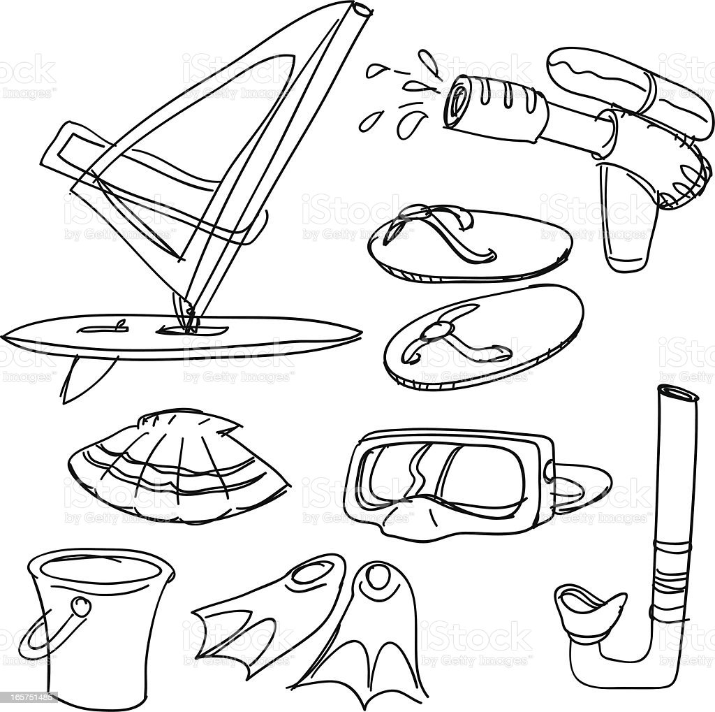 Water sports item collection vector art illustration