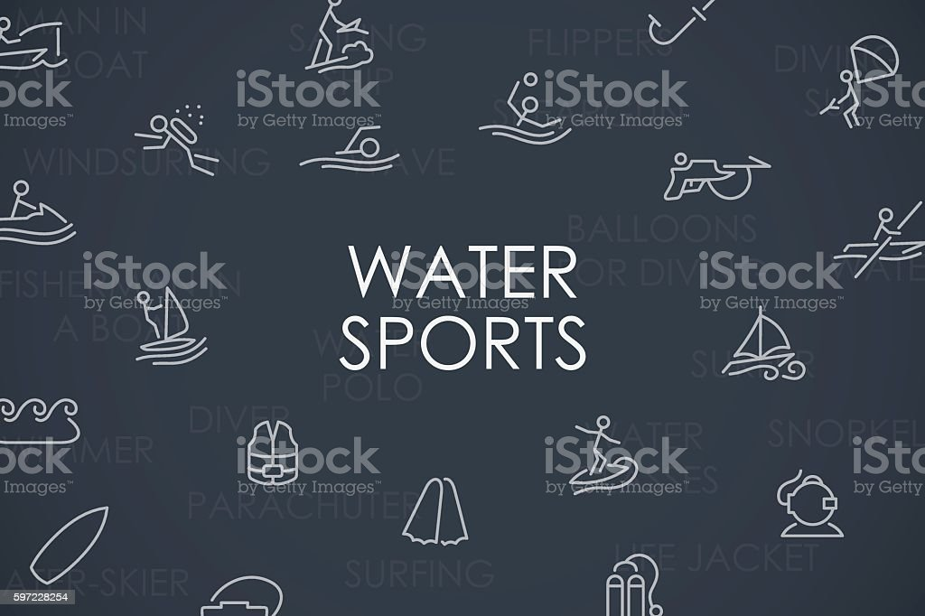 Water Sports Thin Line Icons vector art illustration