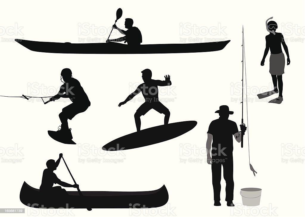 Water Sports Vector Silhouette vector art illustration
