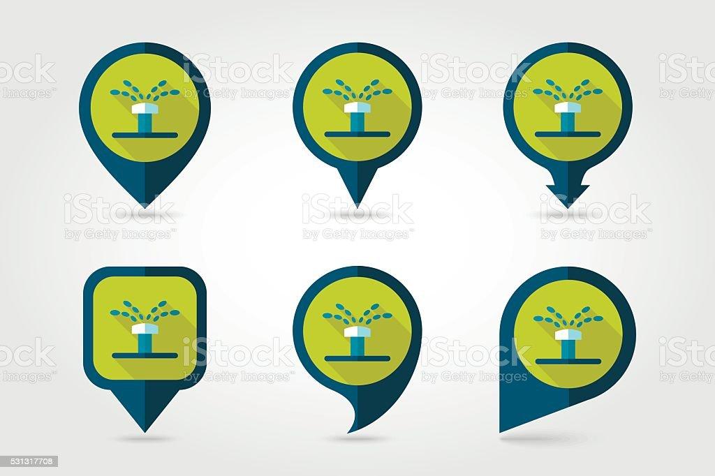 Water sprinkler, irrigation flat pin map icon vector art illustration