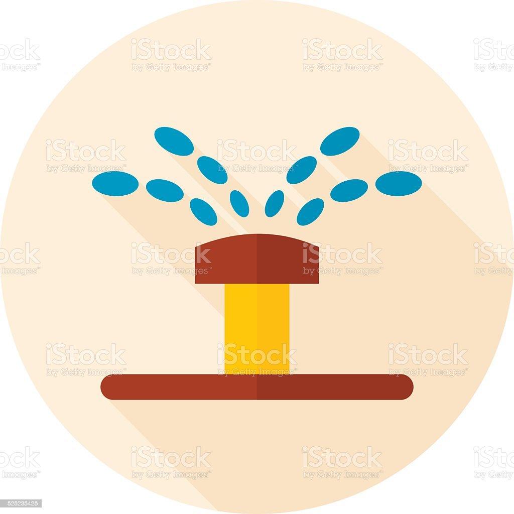 Water sprinkler, irrigation flat vector icon vector art illustration
