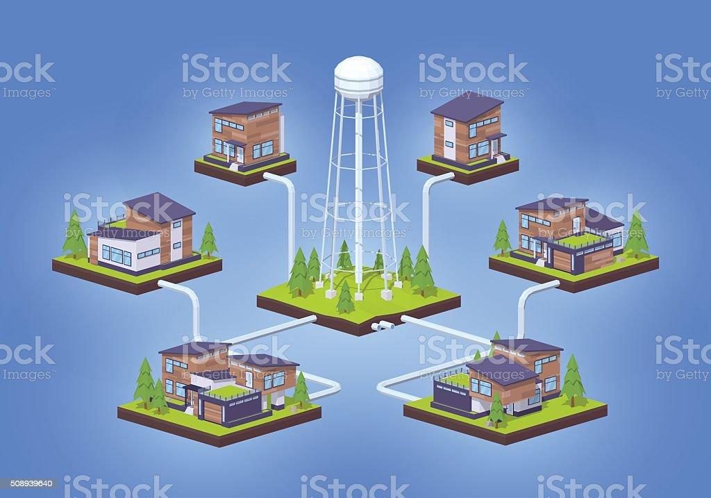 Water supply infographics vector art illustration