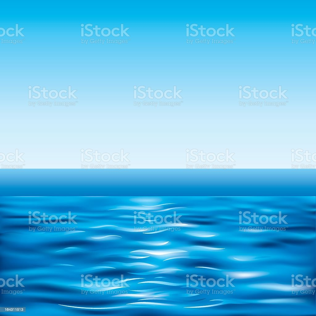 Water surface in contrast with clear sky vector art illustration