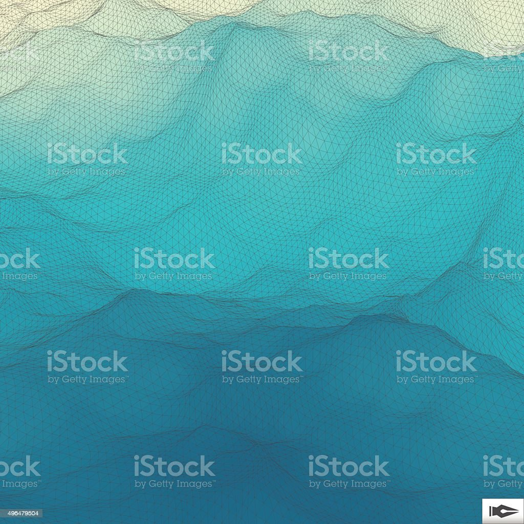 Water Surface. Wavy Grid Background. Mosaic. vector art illustration