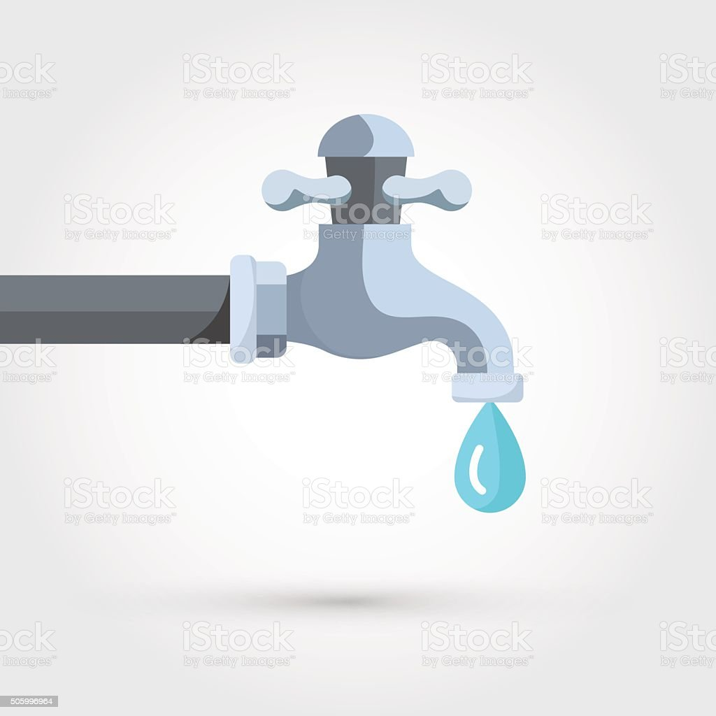 Water tap with drop vector art illustration