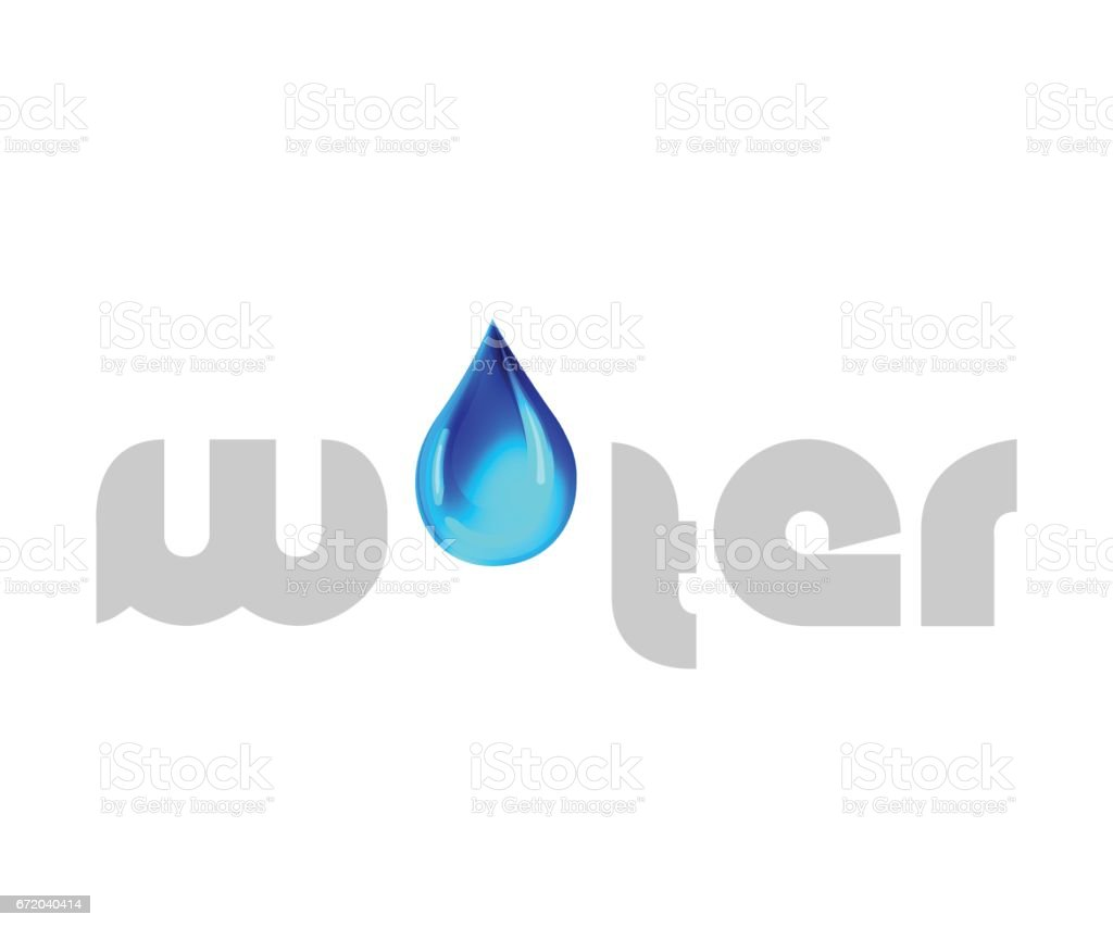 Water Text  with Drop Design vector art illustration